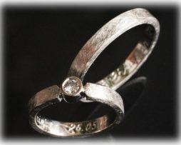 Extravagante Trauringe Eismatt IM250 mit Diamant 0,20ct Platin 950