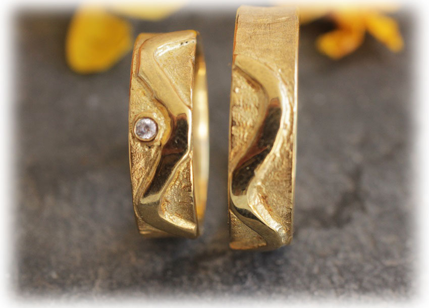 Ausgefallene Trauringe Hochzeitsringe Im140 Aus Gelbgold 585 Diamant