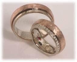 IM304 bicolor brillantkranz trauringe mit diamanten rotgold