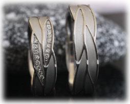 Ausgefallene Eheringe IM220 mit 16 Diamanten poliert und matt a