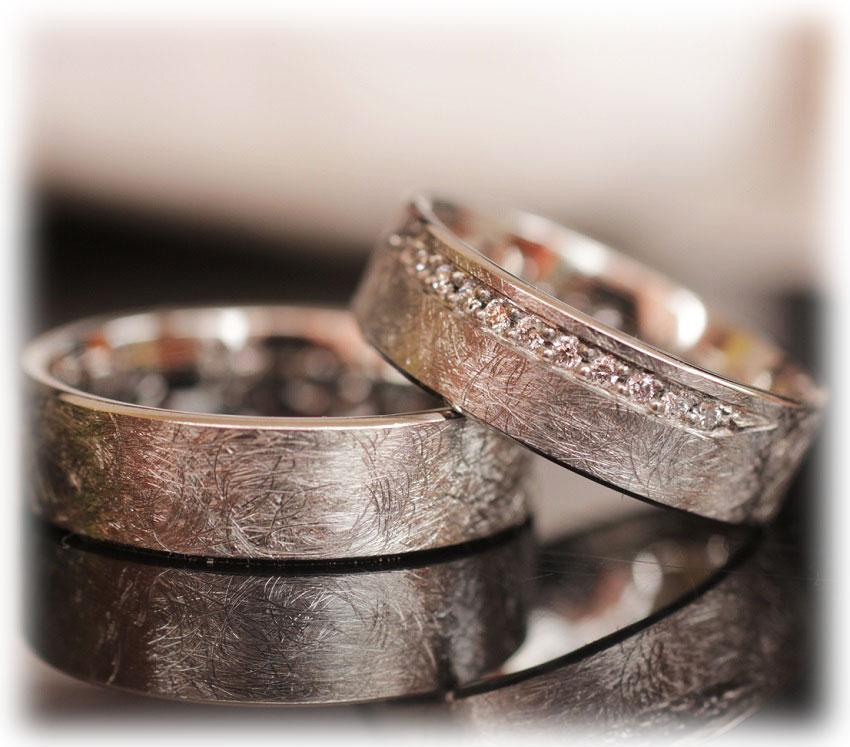 Eheringe gold eismatt  Trauringe/Eheringe IM255, 11 Diamanten - 0,15K, Weißgold