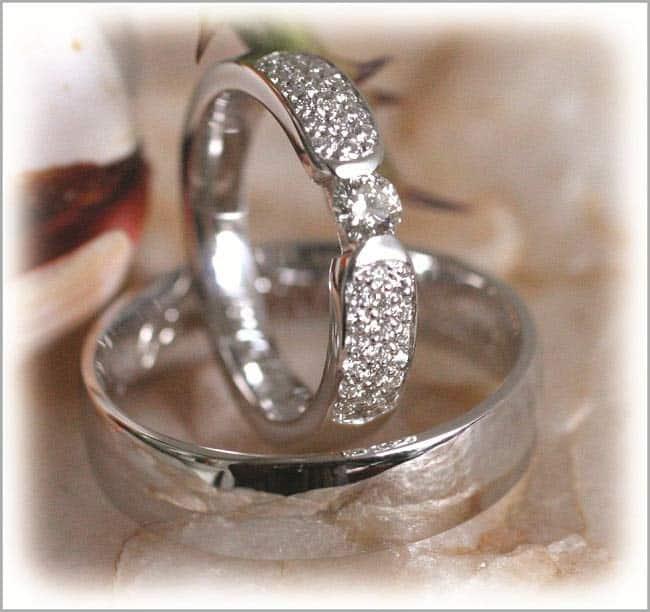 Trauringe/Eheringe IM281, 39 Diamanten - 0,63K, Weißgold oder Platin