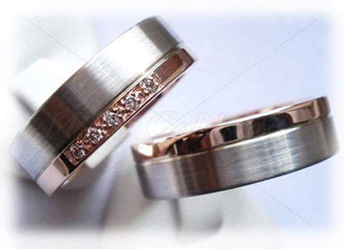 Eheringe gold mit 5 diamanten  Trauringe/Eheringe IM216, 5 Diamanten - 0,05K, Bicolor/Rotgold ...