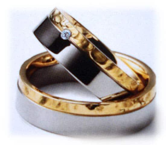Trauringe/Eheringe IM234, 1 Diamant - 0,03K, Bicolor/Weißgold ...