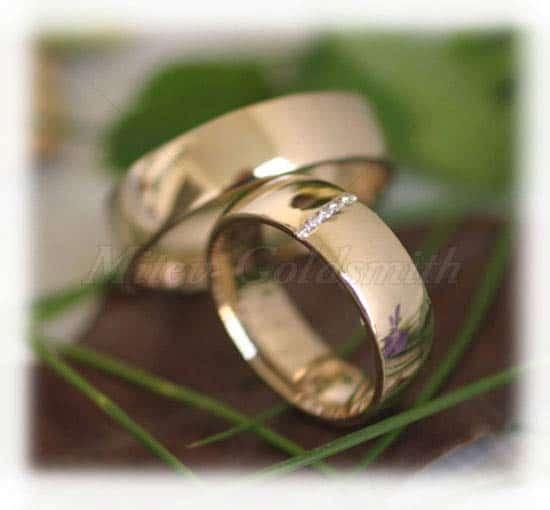 Eheringe gold mit 5 diamanten  Trauringe/Eheringe IM274, 5 Diamanten - 0,07K, Gelbgold poliert