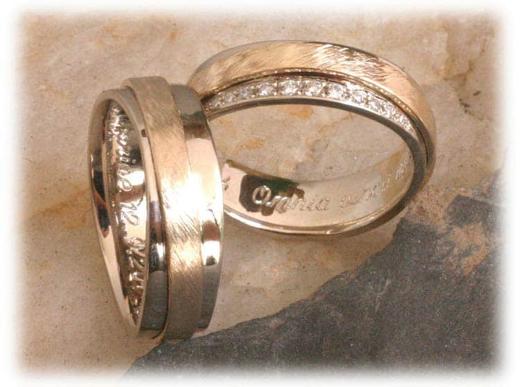Trauringe/Eheringe IM316, 11 Diamanten – 0,13K, bicolor eismatt
