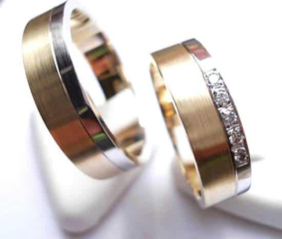 Eheringe gold mit 5 diamanten  Trauringe/Eheringe IM214, 5 Diamanten - 0,05K, Bicolor/Weißgold ...