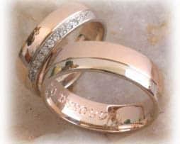 IM341 hochzeitsringe bicolor rosegold mit diamanten poliert