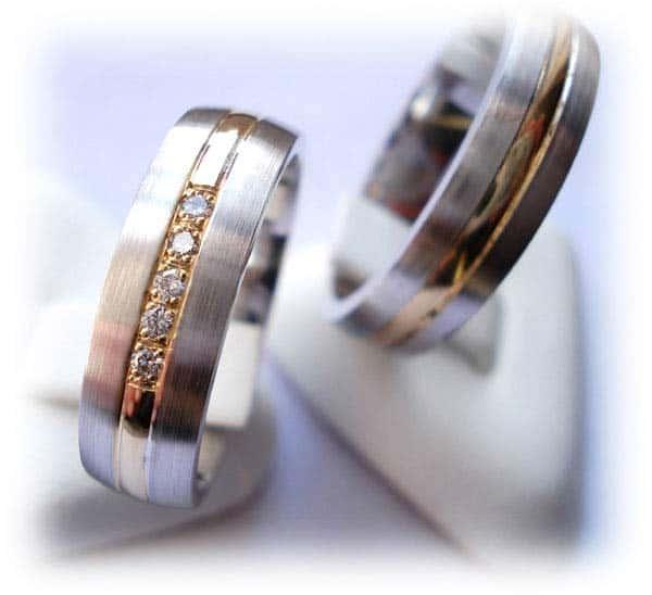 ... IM357, Weiß und Gelbgold - Bicolor, mit 5 Diamant 0,05ct, mattiert