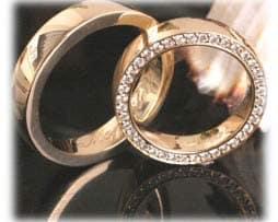 IM358 gelbgold eheringe brillantkranz mit diamanten