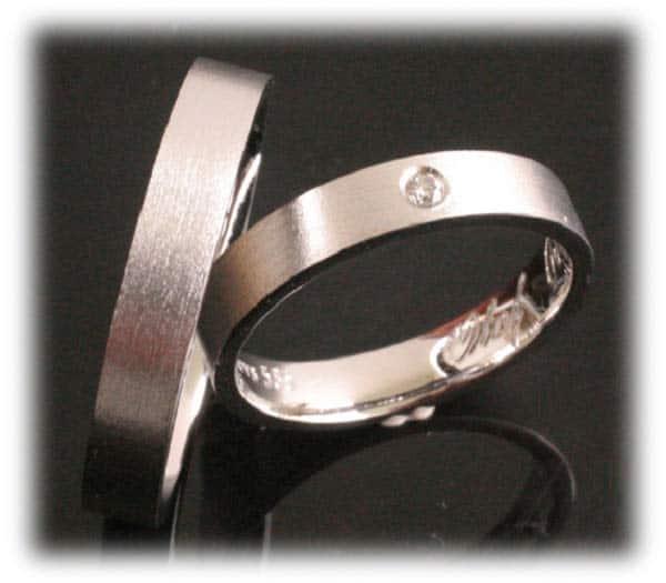 Trauringe/Eheringe IM363, Weißgold oder Platin, 1 Diamant – 0,05ct ...
