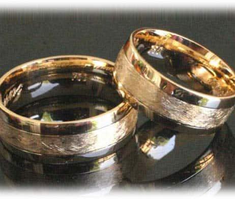 Klassische Trauringe/Eheringe IM371, ohne Diamanten Gelbgold eismatt ...