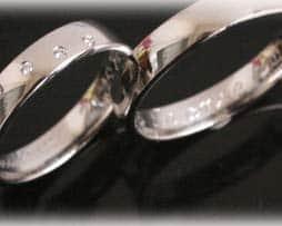 IM377 Trauringe Eheringe aus Weißgold oder Platin mit 5 Diamanten, glanz poliert