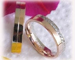 IM378 Trauringe Eheringe ca. 11 Diamanten - 0,15ct, Bicolor, glanz poliert