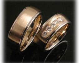 Trauringe/Eheringe IM379, 5 Diamanten - 0,50ct, Bicolor Gelbgold, mattiert