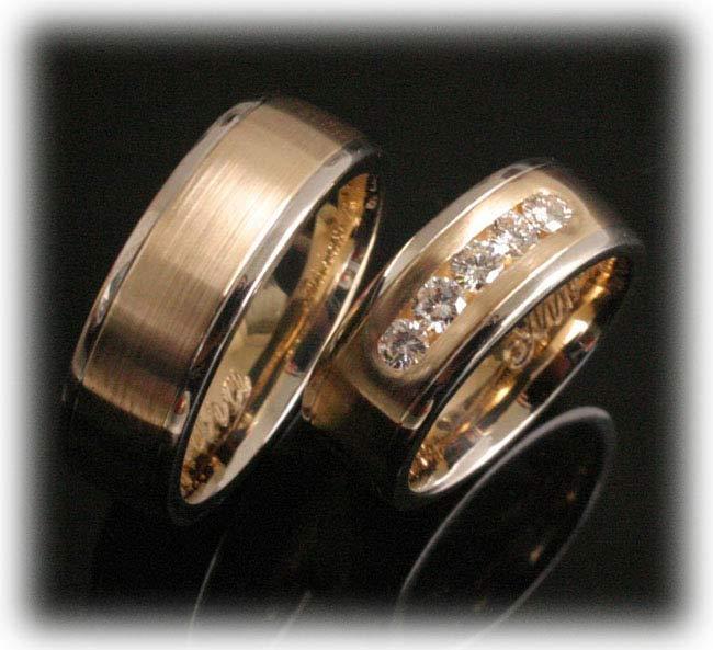 Eheringe gold mit 5 diamanten  Trauringe/Eheringe IM379, 5 Diamanten - 0,50ct, Bicolor Gelbgold