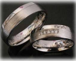 Trauringe Eheringe IM392, 8 Diamanten - 0,10ct, Weißgold oder Platin, matt und poliert