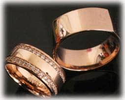 Trauringe Eheringe IM398, Brillantkranz 90 Diamanten - 1,0ct, Infinity in Rotgold, poliert