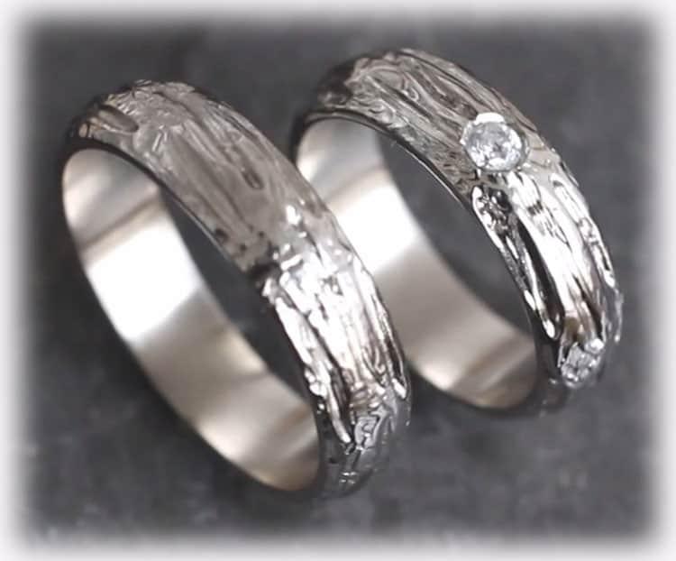 Ausgefallene Eheringe Im120 0 10ct Diamanten Gehammert Weissgold 585