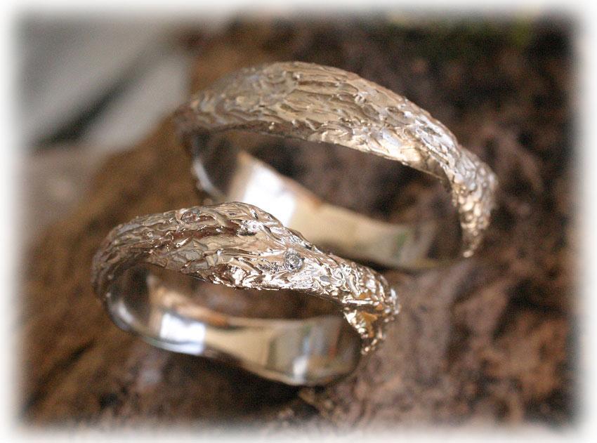 Ausgefallene Hochzeitsringe Im143 Aus Weissgold 585 Diamant Gehämmert